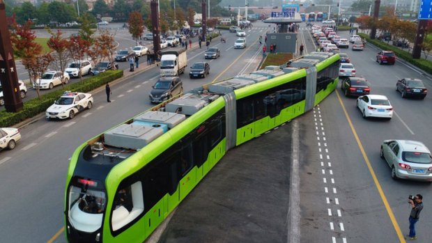 The battery-powered trackless tram, or ART, in operation in Zhuzhou, showing the trackless autonomous guidance system.