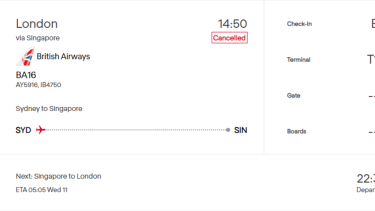 A screenshot of Sydney's airport boards showing the cancellation of BA16 to London.