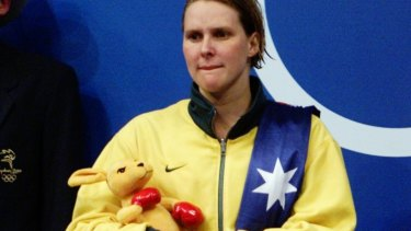 A heartbroken Susie O'Neill following her silver-medal performance in the Sydney 2000 200m butterfly final.