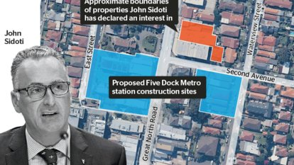Properties linked to MP John Sidoti lie just metres from site of new metro train station