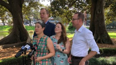 Greens MPs Jenny Leong (front left), Abigail Boyd (front right), David Shoebridge (right) and Jamie Parker (back left) after the state election.