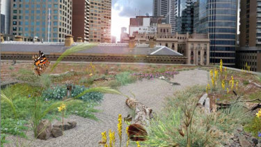 Artist's impression of the green roof at 1 Treasury Place