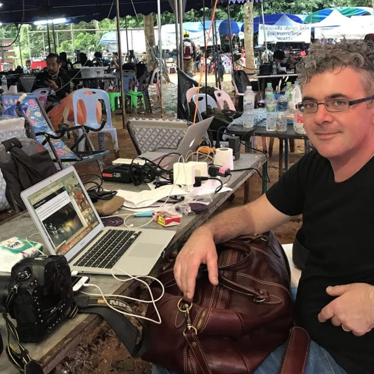 Fairfax Media correspondent James Massola at the media base camp.