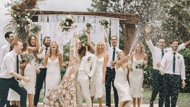 """The wedding party at Scott """"Jimmy Niggles"""" Maggs' wedding with Emma Metcalf at Stanwell Tops on March 6 where 37 guests have since been diagnosed with COVID-19."""