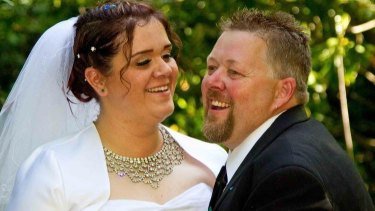 Amy Roberts, pictured with her husband Brett Roberts on their wedding day less than two years before he was killed in a car crash.