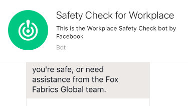 Safety check on Workplace by Facebook