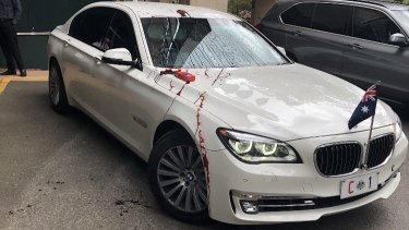 Prime Minister Scott Morrison's car was splattered with red paint by refugee protesters.