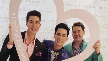 """Justin Jedlica (left), who proudly calls himself """"The Human Ken Doll"""", and is happy in a love triangle with Stephen Walden and Jayson McNaughton."""