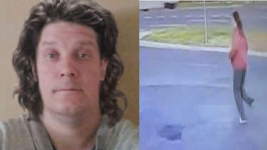 A computer generated image which shows how Mr Dick is likely to look with longer hair and a screenshot of a man, whom police believed to be him fleeing the Keilor attack.