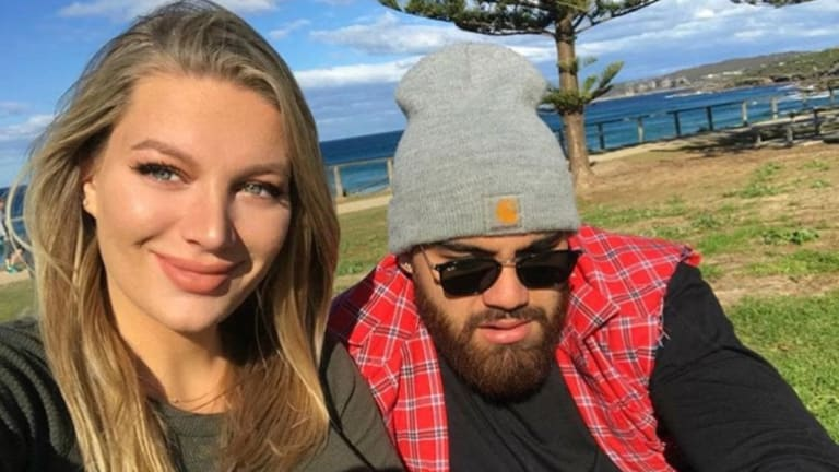 Manly's Dylan Walker with fiancee Alexandra Ivkovic.