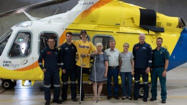 Mr Desbrow with his rescuers on Wednesday.