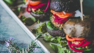 Back 2 Earth's rainbow raw vegan mushroom bun burgers.