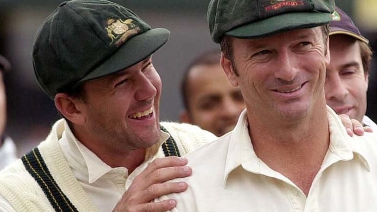 Ghosts of former glory: Former captains Ricky Ponting (left) and Steve Waugh.