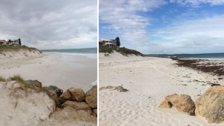 Ledge Point following storm events in 2009 (left) left and revegetation of dune slope by June 2016 (right).