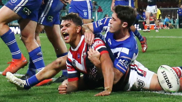 Not enough: Latrell Mitchell scored a double against the Bulldogs but has been cut from the NSW side.