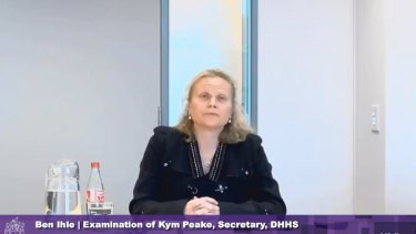 DHHS secretary Kym Peake giving evidence to the inquiry on Wednesday.