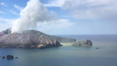A shot of the volcano erupting from the Westpac Rescue Helicopter.