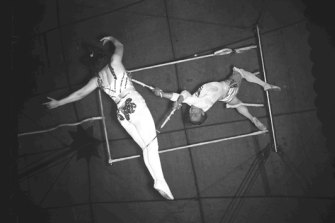 Trapeze artists in action for Wirth's Circus in the 1940s.