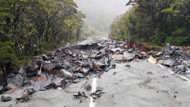 Significant damage on the road to Milford Sound.