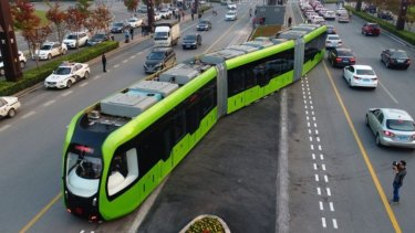 A trial of the tram on the streets of Zhuzhou, Hunan Province.