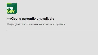 The myGov website at 11.30am on Friday.