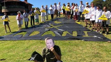 Protesters in Perth on Wednesday claimed fracking in WA could be worse than six Adani coal mines.