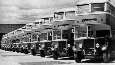 Thirteen double-decker buses at the Central Bus Garage in North Fitzroy, 1940.