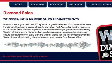 A screenshot of Fast Access Finance's website explaining the diamond component of the sale in 2012. It has since been taken down.