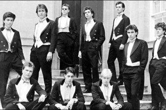 Oxford University's Bullingdon Club. Standing L-R Sebastian Grigg, David Cameron, Ralph Perry-Robinson, Ewen Ferguson, Harry Eastwood. Sitting L-R Sebastian James, Jonathan Ford, Boris Johnson.