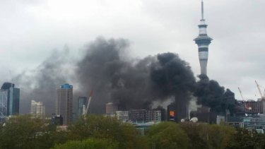 SkyCity in flames.