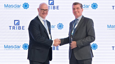 Tribe Infrastructure Group chief executive Peter McCreanor and Masdar chief financial officer Niall Hannigan signed the joint venture holding company agreement last week.