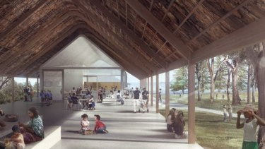 Artist impression of the cafe to built at the meeting place precinct at Kurnell to commemorate Captain Cook's landing in Australia.