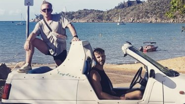 Shark attack victims Alistair Raddon (left) and Danny Maggs (right) pictured on Magnetic Island on Monday.