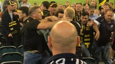Footage showed a group of men involved in the brawl, while the Tigers club song plays in the background.
