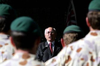 John Howard addresses troops in Afghanistan in 2007.
