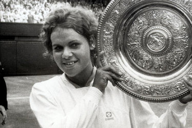 Evonne Goolagong Cawley in 1971. She beat fellow Australian Margaret Court to win the Wimbledon Singles Championship.