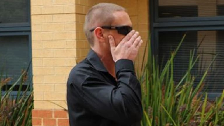 Dempster arrives at court on Wednesday morning.