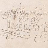 Detail of one of the exhibits showing Elizabeth I's signature.