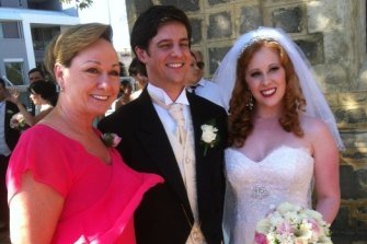 Olympian Allana Slater and husband Scott Penney at their wedding in April 2013 with Australia's gymnastic coach Peggy Liddick.