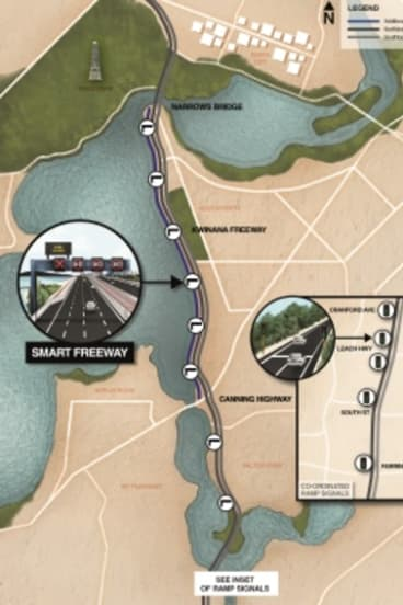 The illustration shows how the freeway is expected to be in 2020.