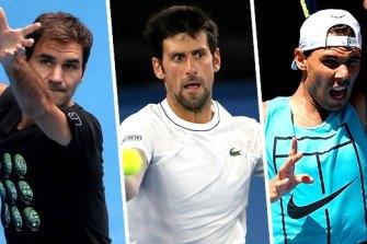 Roger Federer, Novak Djokovic and Rafael Nadal have 55 grand slam titles between them.