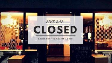 Five Bar in Perth has closed.