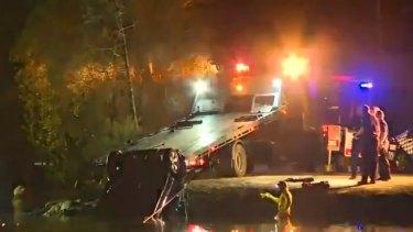 The car crashed near the Maximillian Road ferry wharf on Sunday night.