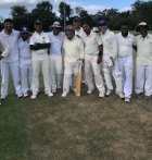 Northbridge CC's David Allan and friends on his big day at Castle Cove Oval.