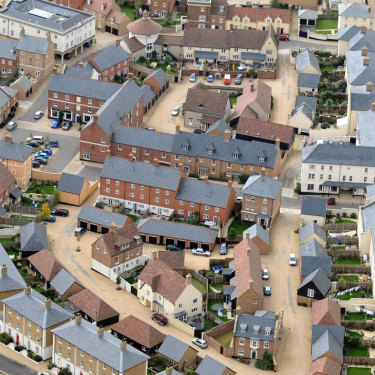 An aerial view of Poundbury, in south west England.
