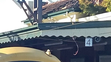 A cable hanging at Malvern station on Monday evening.