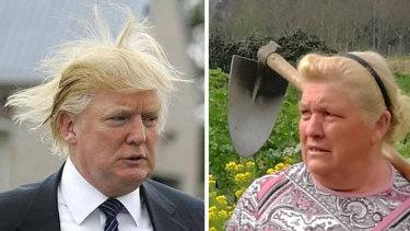 Guesswho? US President Donald Trump and Spanish potato farmer Dolores Leis. Photos: YouTube, AP