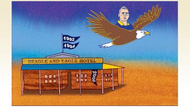 Birds of a feather: Eagles coach Adam Simpson.