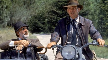 Connery with Harrison Ford, playing father and son in Indiana Jones and the Last Crusade.