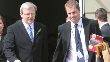 Kevin Rudd with former media adviser Lachlan Harris.